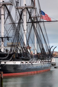 The USS Constitution with American Flag