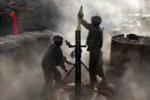 A 120mm mortar tube firing in Afghanistan